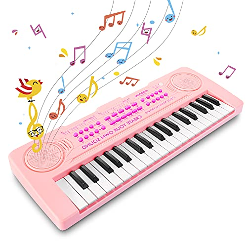 Innedu Mini Piano Keyboard Spielzeug, 37 Tasten Musical Keyboard mit Tiergeräuschen, Demo Songs, Drum und Tempo, Mikrofon, Tragbares Musical Piano Keyboard für Kinder