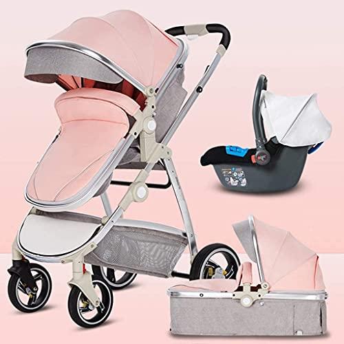 Travel-Kinderwagen Neugeborenen, Reisesystem 3 in 1 Kinderwagen Buggy Lightweight Kinderwagen bis zu 25 kg mit Liegeposition von Geburt, großer Korb, kleines Falten (Color : Pink)