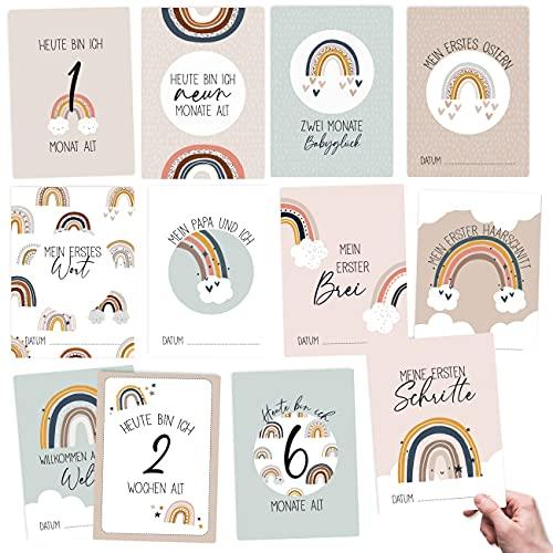 32 Meilensteinkarten für Babys und Kleinkinder - für Jungen und Mädchen - Regenbogen - Geschenkidee zur Geburt, Babyparty oder Taufe - Milestone Cards Set 5