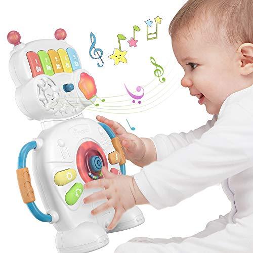 TUMAMA Musikalischer elektronischer Baby Spielzeug roboter für 1 Jahr,Klavierinstrumente, sensorische Spielzeuggeschenke für Babys, Kleinkinder, Jungen, Mädchen und Geburtstagsspiele