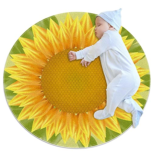 Kreisförmiger Kinderteppich, Decke für Wohnzimmer, Spielzimmer, Bodendekoration, gelbe Sonnenblume