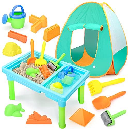 YIMORE Sand Wasserspieltisch mit Spielzelt Sandkasten Muschel mit Sandmodellen, Spielzeug für Draußen für Jungen Mädchen 3 Jahre Alt 13PCS