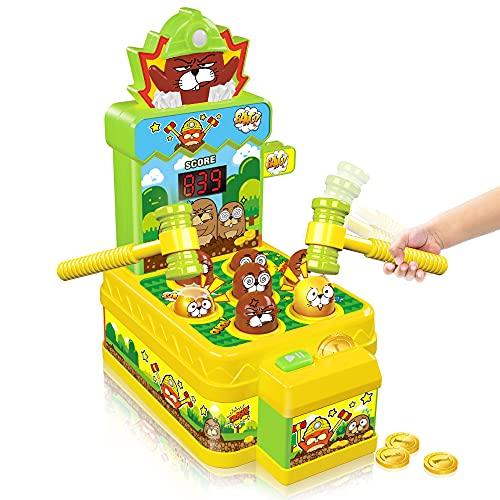 VATOS Whack Spiel,Schlag den Maulwurf,elektronisches Mini Arcade Spielzeug,Münzspiel mit 2 Hämmern,interaktives pädagogisches für Kleinkinder,Kinder,Mädchen und Jungen im Alter von 3-6 Jahren