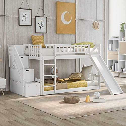 MWKL Neueste Twin-Etagenbetten mit Rutsche für Kinder, niedrige Etagenbetten mit Treppe und Zwei Schubladen, kein Boxspring erforderlich