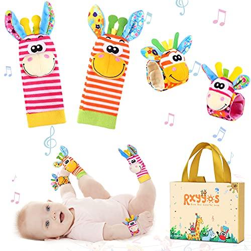 Baby Rasseln Spielzeug Socken und Handgelenk Set, Fuß Finder und Handgelenk Rassel Kleinkind Nettes Tier Plüschtier Entwicklungs Spielzeug für 0-12 Monate Neugeborene Mädchen und Jungen 4PCS