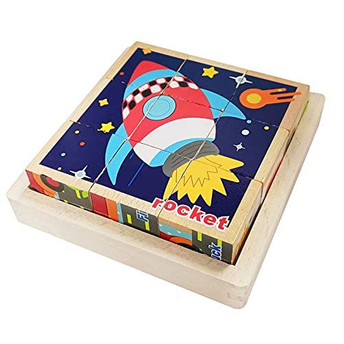Würfelpuzzle aus Holz,Holzpuzzle Kinder,3D Bilderwürfel,Montessori Spielzeug Kinderpuzzle,6 in 1 Tier-Motive,Lernspielzeug Puzzel,Stapelwürfel für Kinder ab 2 4 Jahre
