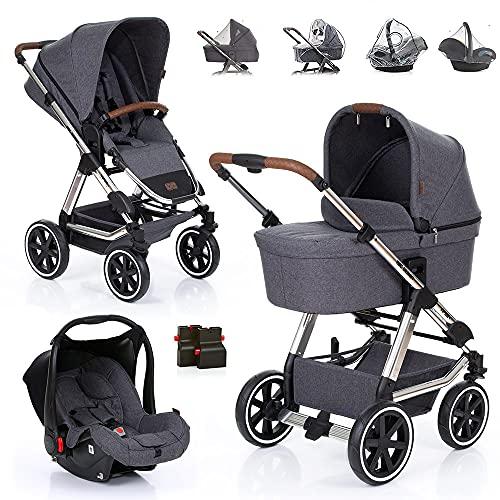 ABC Design 3in1 Kombi Kinderwagen Set Viper 4 inkl. Babyschale Hazel und Zubehör - Kombikinderwagen mit Babywanne und Sportwagen - Diamond Edition Asphalt