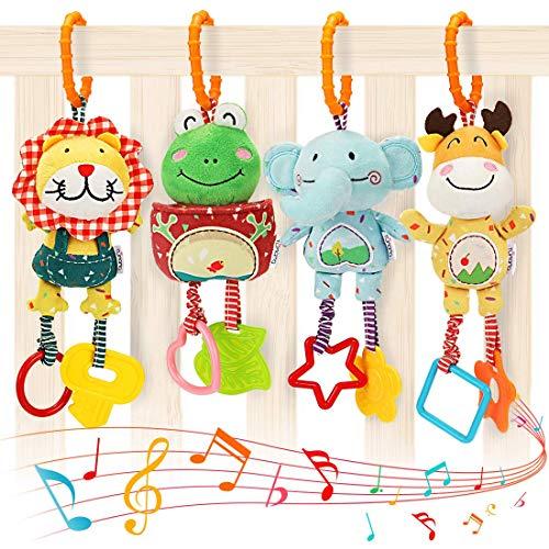 Babyspielzeug für 0, 3, 6, 9, 12 Monate, Handbells Baby Rasseln mit Beißringen Weiches Plüsch Frühentwicklung Kinderwagen Auto Spielzeug für Kleinkinder, Neugeborene Geburtstagsgeschenke, 4er Pack