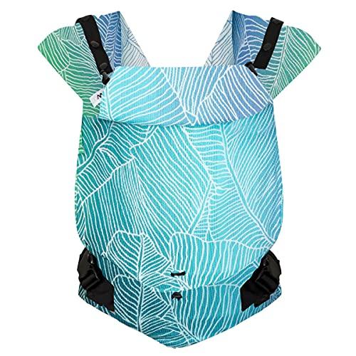Hoppediz Primeo Full-Buckle Babytrage ✓ ab Geburt ✓ Bauchtrage ✓ Rückentrage ✓ verstellbarer Steg ✓ 100% Bio-Baumwolle | Design Grenada creme