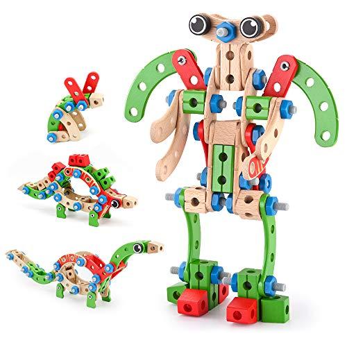 VATOS Holz Konstruktionsspielzeug, Pädagogisches Montessori Spielzeug 96 PCS Holzgebäude Spielzeug ab 3 4 5 6 7 8 9 10+ Jahren Junge und Mädchen, STEM Gebäude Spielzeug Präfektengeschenk für Kinder