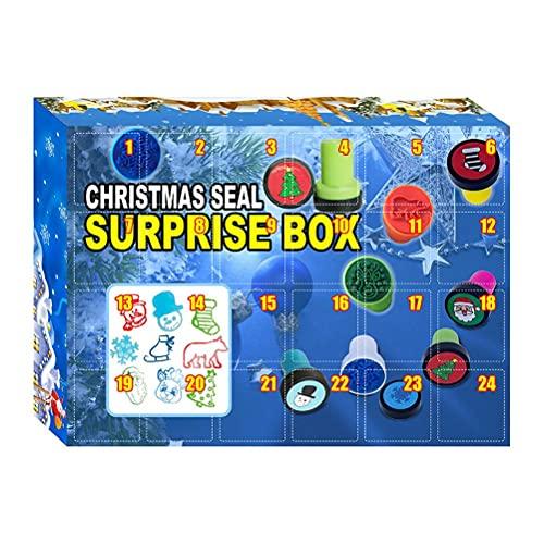 Adventskalender Stempel Kinder , 24 Tage Briefmarken Spielzeug Weihnachten Countdown Kalender Advent Calendar Geschenk Box Set