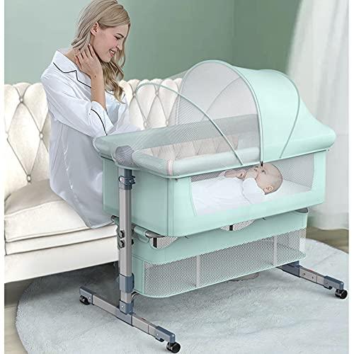 TXTC Tragbares Baby-Babybett, Beistellbett Für Babys, Bequemes Babybett Mit Großem Volumen Und Mobiltelefon Mit Lagerkorb, Nachttischschwellen Für Baby/Säuglinge