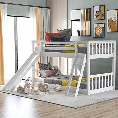 MWKL Neueste Twin Over Twin Etagenbett mit Rutsche, niedrige Etagenbetten für Kinder, Kleinkinder, Jugendliche, Etagenbetten aus Holz mit Geländer