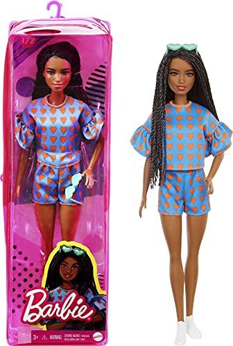Barbie GRB63 - Fashionistas Puppe (schwarzhaarig) mit Zubehör, im Outfit mit Herz-Muster und Schuhen, für Kinder von 3 bis 8 Jahren