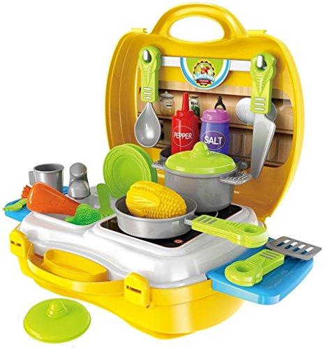 Brigamo to go im Koffer Spielzeugset, Spielzeug Küche Kinderküche Set