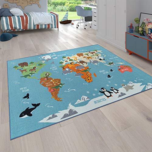 Paco Home Kinder-Teppich Für Kinderzimmer, Spiel-Teppich, Weltkarte Mit Tieren, In Grün, Grösse:140x200 cm