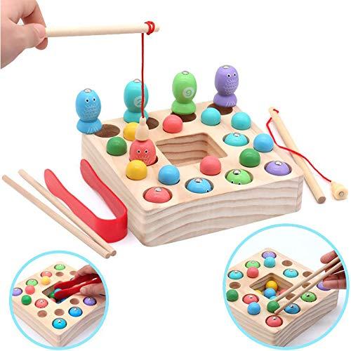 Symiu Holzspielzeug Angelspiel Montessori Lernspielzeug Magnettafel Kinderspielzeug Pädagogisches Spielzeug Geschenk Mädchen Junge 3 4 5 Jahre (Angeln)