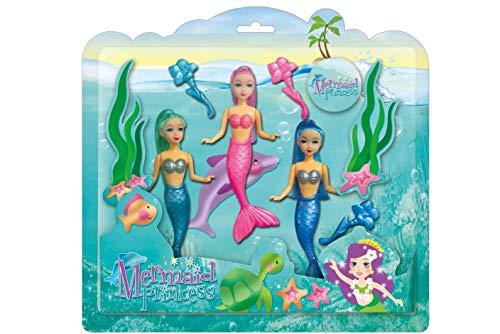 KandyToys Meerjungfrauen-Prinzessinnen-Puppen (3 in Einer Packung).