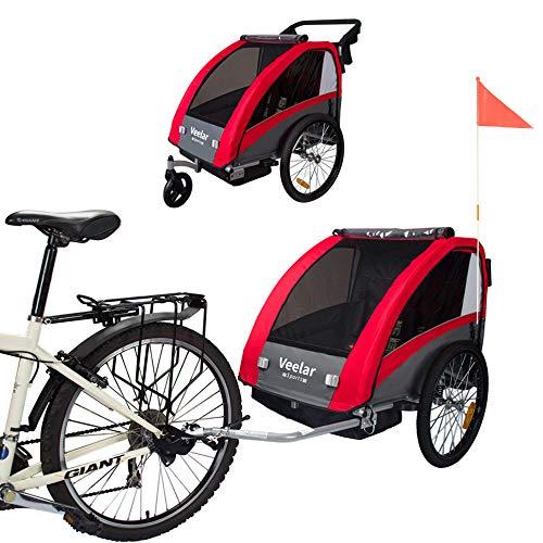 Veelar Sports 2 in 1 Kinderanhänger Fahrradanhänger Anhänger mit Buggy Set + Federung 60302-01 ROT