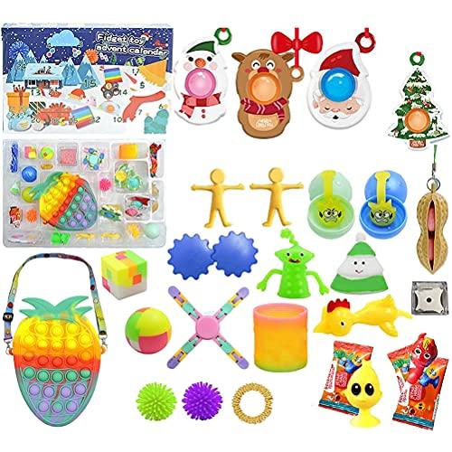 Adventskalender Fidget Toy Mädchen, 2021 Mini Erdbeere Sensory Toys Tasche Kids Advent Calendar Fidget Toys Pack Pop Set Gift Box Countdown Kalender Anti Stress Spielzeug