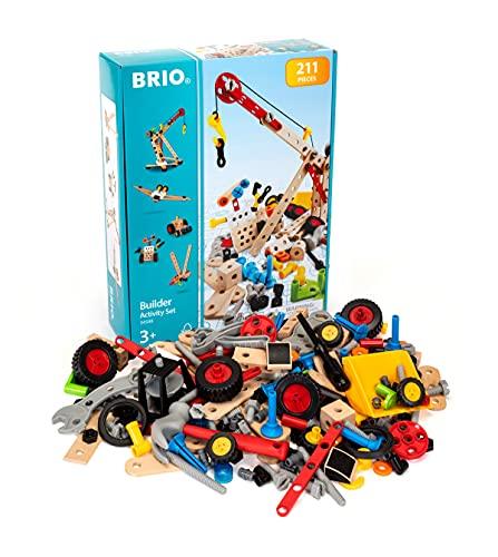 BRIO Builder 34588 Kindergartenset 210 tlg. - Das kreative Konstruktionsspielzeug aus Schweden – Großes Komplettset mit zahlreichen Bauelementen und viel Werkzeug - Für Kinder ab 3 Jahren