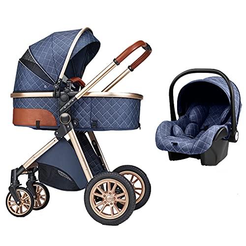 3 in 1 Kombikinderwagen Kinderwagen 3 in 1 Hochformat Kinderwagen Liegender Kinderwagen Faltbarer Kinderwagen Babywiege Neugeborenen Kinderwagen (Blau)