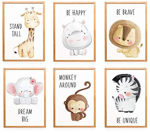 WIETRE® 6er Set Bilder Tiere Kinderzimmer Babyzimmer Deko | Bild Junge Mädchen Poster DIN A4 | Waldtiere Safari Afrika Tiere Tierposter Dekoration (ohne Rahmen)