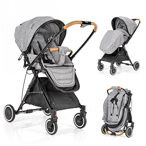 Zamboo Buggy Automatic Fold mit Schwenkschieber - leichter Kinderwagen mit verstellbarer Fahrtrichtung, Sitzeinlage, Liegefunktion und Beindecke, klein zusammenklappbar, bis 22 kg - Grau