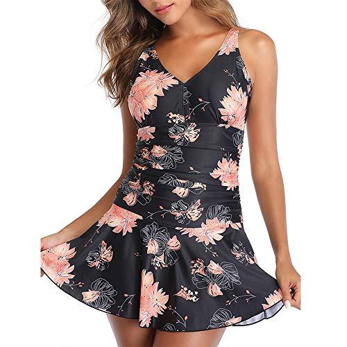 Summer Mae Damen Badekleid Plus Size Geblümt Figurformender Einteiler Badeanzug Swimsuit mit Verstellbarer Schultergurten Schwarz Rosa Blumen (EU Size 48-50)-2XL