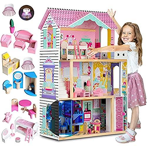 RICOKIDS Holzpuppenhaus, 120x82x33cm, dreistöckig, Vier Zimmer, Terrasse, 17 Teile, rosa, Aufzug, LED, Zertifiziert, kindersicher