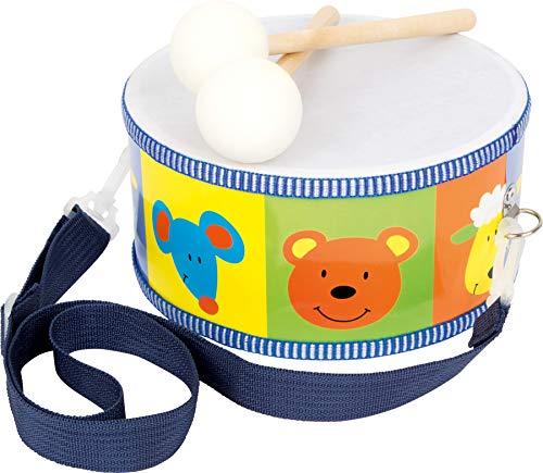 small foot 3315 Trommel / Musikinstrument aus Holz für Kinder mit bunten Tieren, Trageriemen und Trommelstöcken