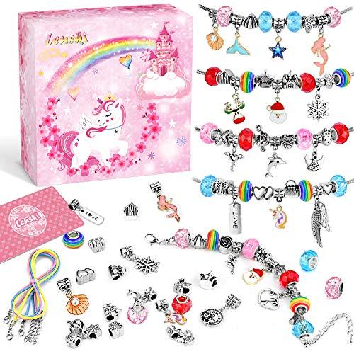 Lenski Mädchen Geschenke 4-11 Jahre - Charm Armband Kit DIY, Schmuck Basteln Mädchen Geschenke für Mädchen, Spielzeug Mädchen Kinder Geschenke Weihnachten Geschenk Mädchen 5 6 7 8 9 10 11 Jahre
