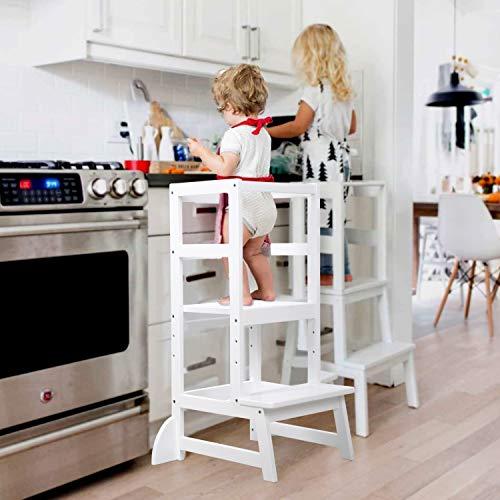 Lernturm,Tritthocker Kinder Made in EU Holz Montessori Lernturm ab 1 Jahr Weiß Küchenhelfer Ständer Küchenhocker