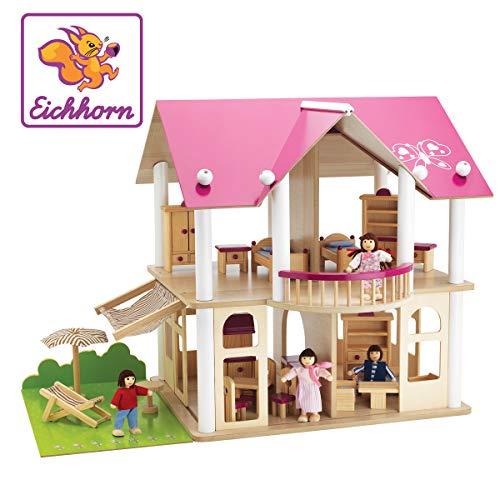 Eichhorn 100002513 - Puppenvilla inkl. 4 Puppen und Möbeln, 27-tlg., 50x75x55cm, Puppenhaus aus Kiefernholz