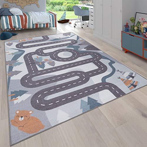 Paco Home Kinder-Teppich, Spiel-Teppich Für Kinderzimmer Straßen-Design Mit Tieren Beige, Grösse:160x220 cm