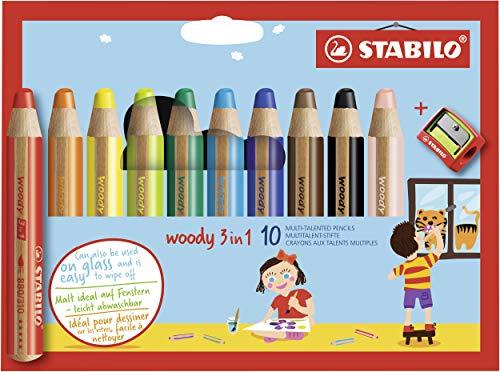 Buntstift, 880/102 Wasserfarbe & Wachsmalkreide - STABILO woody 3 in 1 - 10er Pack mit Spitzer - mit 10 verschiedenen Farben