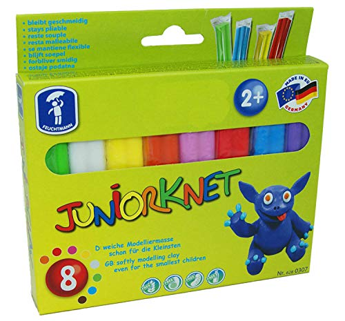 Feuchtmann 628.0307 - JUNiORKNET Basic Pack, 8 Stangen in 8 Farben, geschmeidige Knete 2+, ca. 300 g, ideales Geschenk für kreatives Spielen