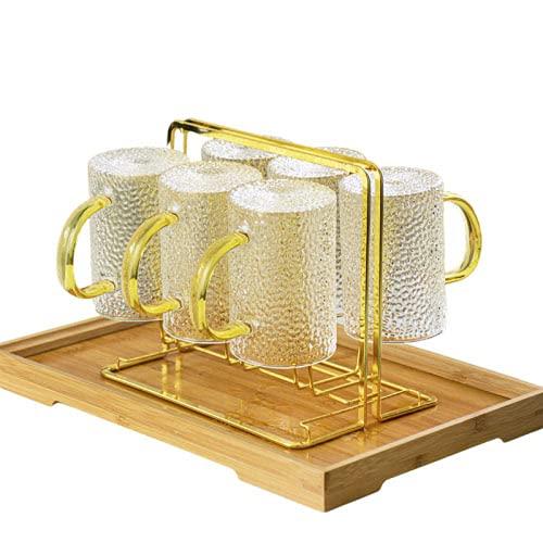 Yadass Metall Abtropfhalter Abtropfgestell, Abtropfgestell für 6 Tassen, Flaschentrockengestell, Abtropfständer Trockenständer Flaschenhalter Tassenhalter Flaschen Ständer