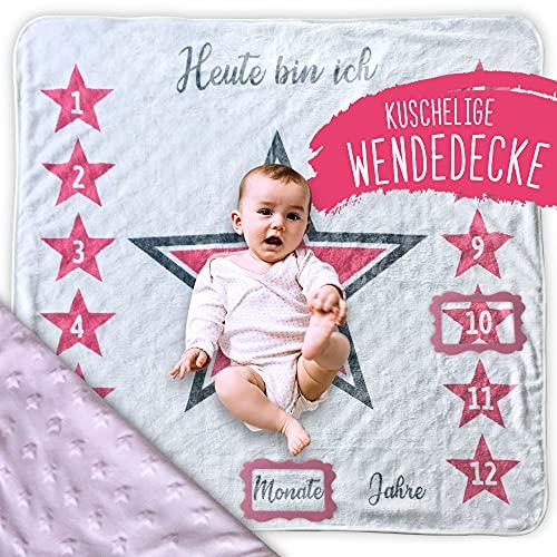 2 Seitige kuschelige rosa Baby Meilenstein Wende Decke mit Sternen, perfektes Geschenk zur Geburt und Taufe, Wachstum festzuhalten
