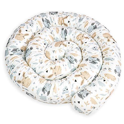 Bettschlange Baby Bettumrandung 150 cm - Nestchenschlange Bettrolle für Babybett Gitterbett Beistellbett Umrandung Hasen Motiv