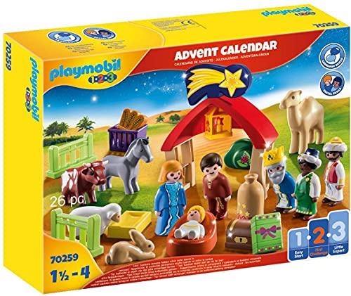 PLAYMOBIL Adventskalender 70259 Weihnachtskrippe mit liebevollen Figuren, Tieren und Zubehörteilen hinter jedem Türchen, 26-teilig, Ab 1,5 Jahren
