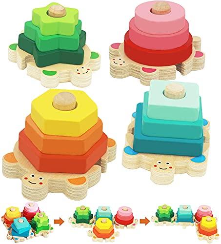 Steckspiel ab 1 Jahr, Goorder Holz Steckplatte Stapelspiel, Montessori Holzspielzeug, Farben-und Formen Sortierspiel, Motorik Lernspielzeug, Geschenk für Kinder ab 2 3 4 Jahre