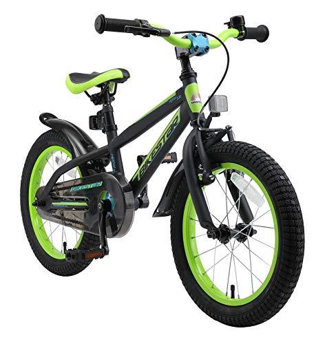 BIKESTAR Kinderfahrrad 16 Zoll für Mädchen und Jungen ab 4-5 Jahre   16er Kinderrad Mountainbike   Fahrrad für Kinder Schwarz & Grün   Risikofrei Testen