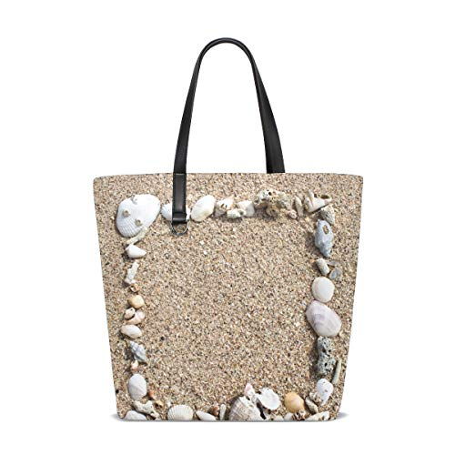 XiangHeFu Damen Handtaschen Strand Sand Muschel Polyester Stoff Schultertasche