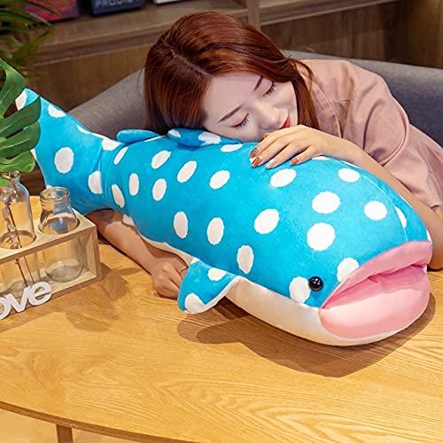 55-80cm Blau Große Augen Wal Plüschtier Gefüllte Marine Tier Hai Plüsch Puppe Nickerchen Kissen Baby Kinder Spielzeug für Kinder Geschenk 80cm
