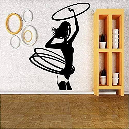 Wandaufkleber Hula Hoop Mädchen Wandtattoo Kinder Kunst Abnehmbare Diy Wandbild Für Wohnzimmer Tv Hintergrund Dekoration 57X81Cm