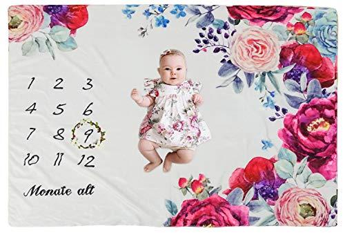 COUXILY Baby Meilenstein Decke Meilensteindecke Baby Monatliche Decke für Neugeborene Baby monatsdecke Milestone Fotografie Requisiten Shoots Hintergrund Tuch Deutsch (Blume A:100 * 140CM)