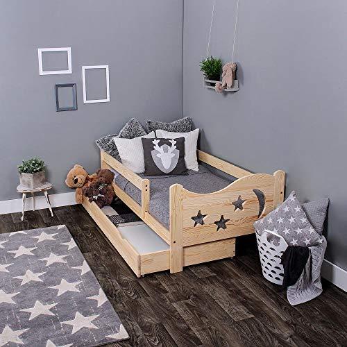 LULU MÖBEL Chrisi Kinderbett Jugendbett Kleinkind Bett 140x70 cm oder 160x80 cm Angebot direkt vom Hersteller Massivholz mit 10 cm Kokos-Matratze und Schublade. Naturholz (180x80 cm)