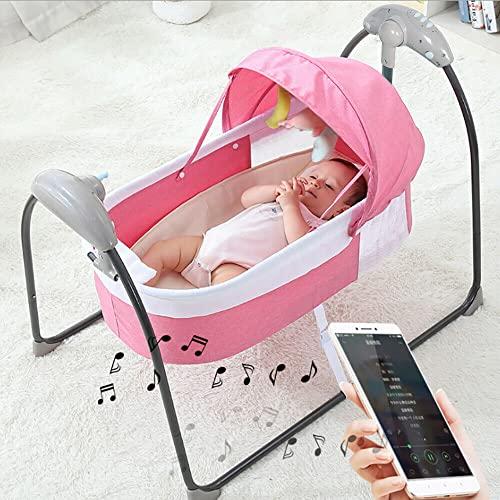 Babywiege Elektrisch Babyschaukel Schaukelfunktion Babybett 3 Gang für 0-12 Monate Rosa+Fernbedienung+Bluetooth Musik