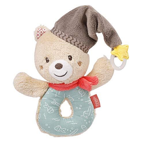 Fehn 060164 Ring-Greifling Bär – Greifling mit Rassel und Schnullerbefestigung für Babys und Kleinkinder ab 0+ Monaten – Maße: 13 cm